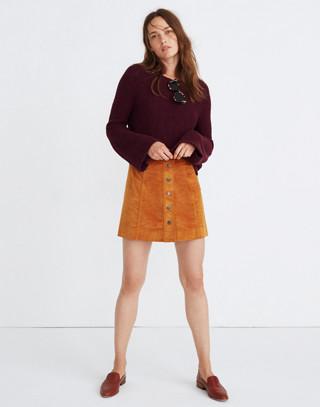 Velveteen A-Line Mini Skirt: Button-Front Edition in golden pecan image 1