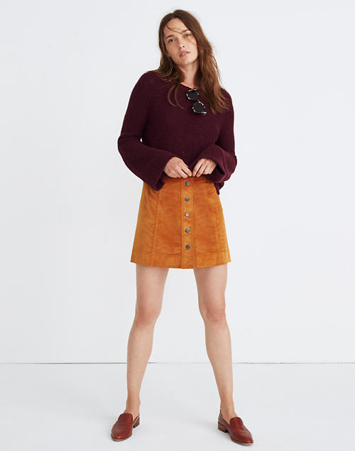 3d94070b9821 Velveteen A-Line Mini Skirt: Button-Front Edition in null image 1
