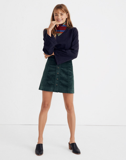 Velveteen A-Line Mini Skirt: Button-Front Edition in smoky spruce image 2