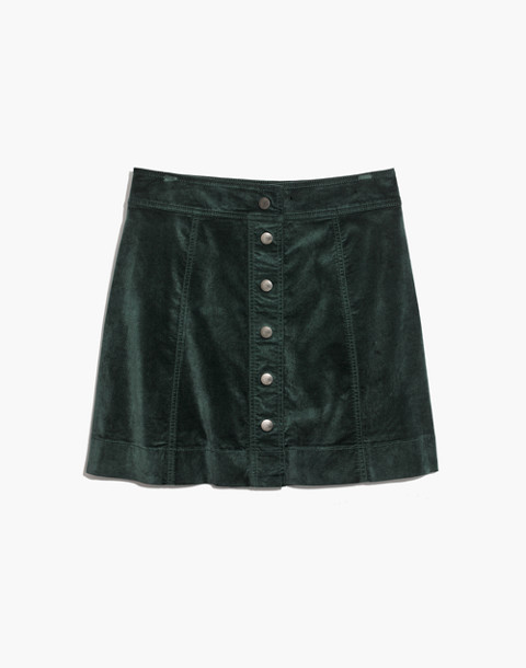 Velveteen A-Line Mini Skirt: Button-Front Edition in smoky spruce image 4
