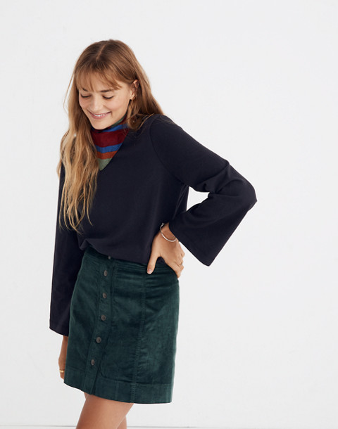 Velveteen A-Line Mini Skirt: Button-Front Edition in smoky spruce image 1