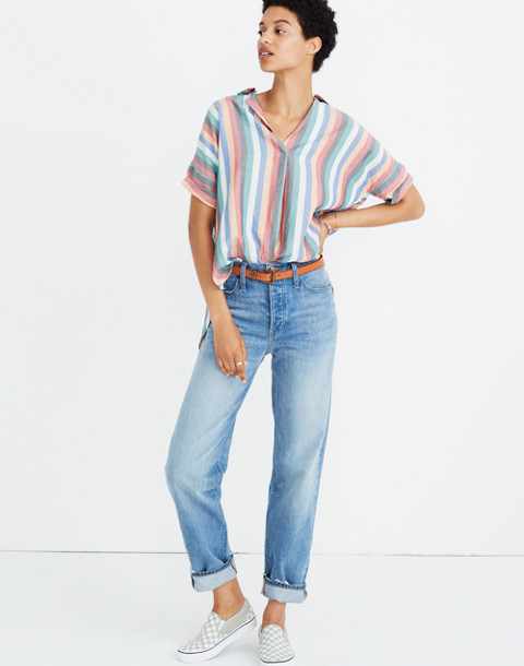 Courier Button-Back Shirt in Festival Stripe in multi image 2
