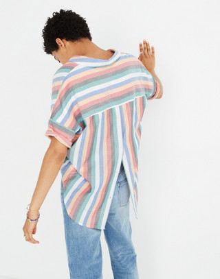 Courier Button-Back Shirt in Festival Stripe