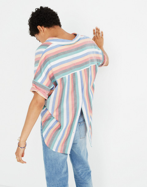 Courier Button-Back Shirt in Festival Stripe in multi image 3