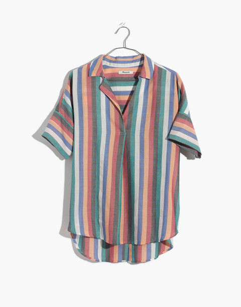 Courier Button-Back Shirt in Festival Stripe in multi image 4
