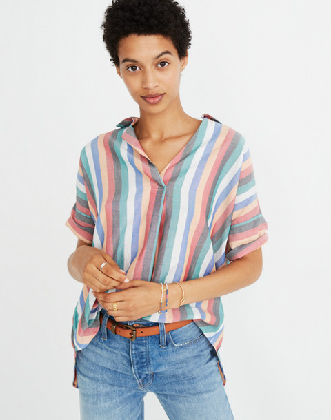 Courier Button-Back Shirt in Festival Stripe in multi image 1