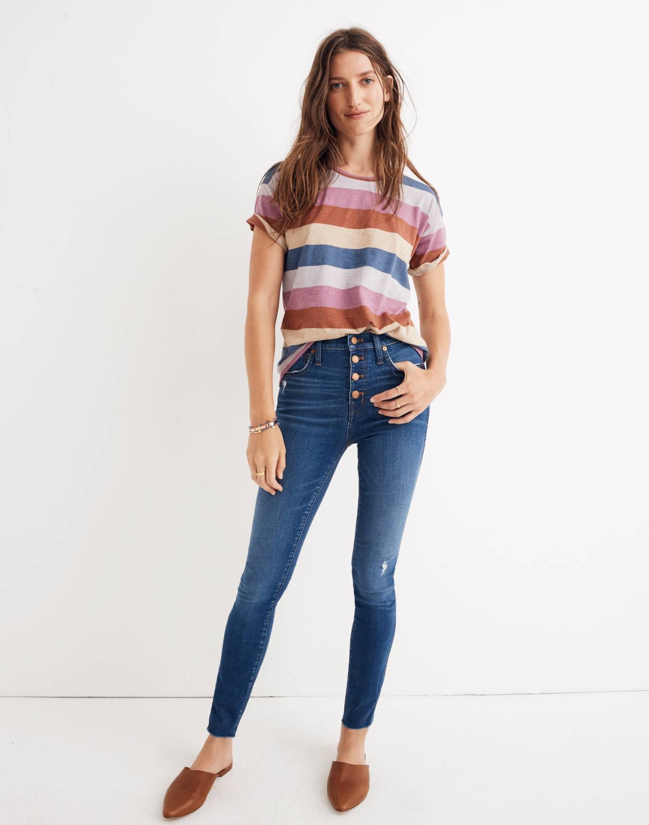 """Petite 10"""" High-Rise Skinny Jeans in Hanna Wash in hanna wash image 1"""