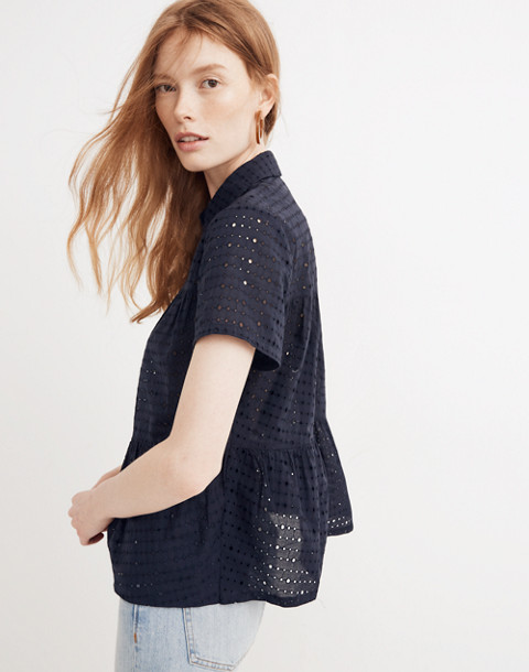 Eyelet Seamed Button-Down Shirt in deep navy image 2