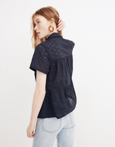 Eyelet Seamed Button-Down Shirt in deep navy image 3