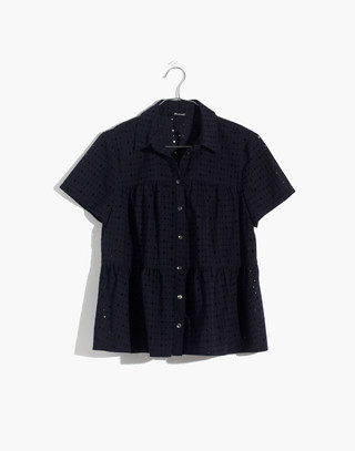 Eyelet Seamed Button-Down Shirt