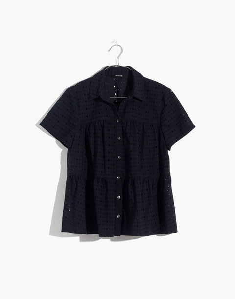 Eyelet Seamed Button-Down Shirt in deep navy image 4