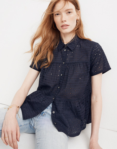Eyelet Seamed Button-Down Shirt in deep navy image 1