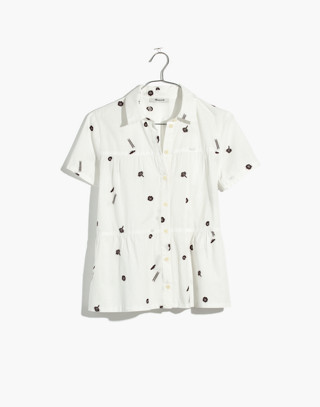 Seamed Button-Down Shirt in El Rancho in ghost bright ivory image 4