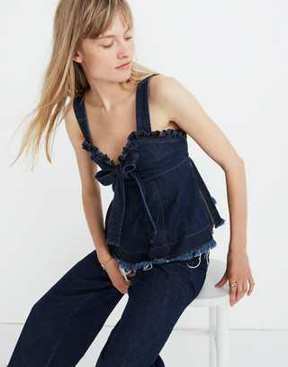 Madewell X Karen Walker® Raw Edged Denim Trianon Top by Madewell