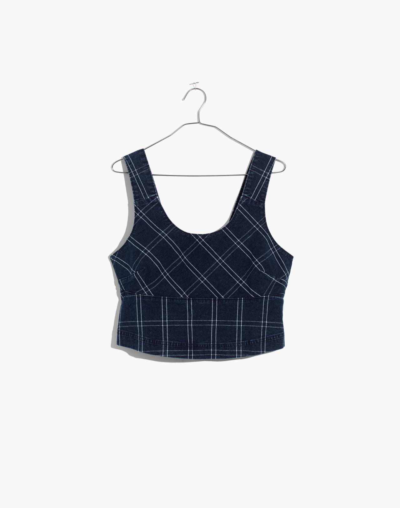 Windowpane Structured Crop Top in julie check image 4