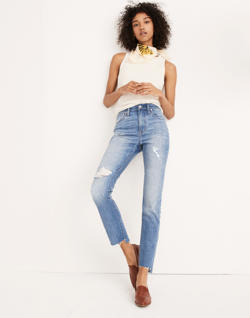 The Short High-Rise Slim Boyjean in Lita Wash: Step-Hem Edition