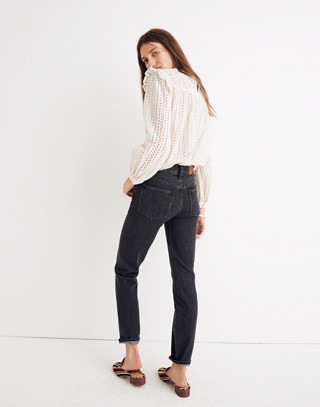 The Petite Perfect Vintage Jean in Roxstone Wash: Knee-Rip Edition in roxton wash image 3