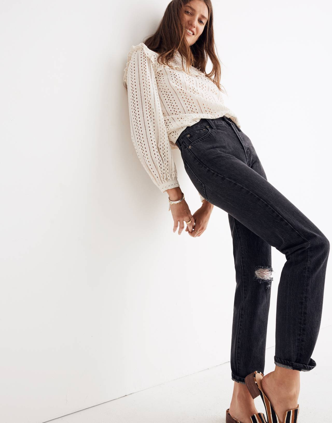 The Tall Perfect Vintage Jean in Roxstone Wash: Knee-Rip Edition in roxton wash image 1