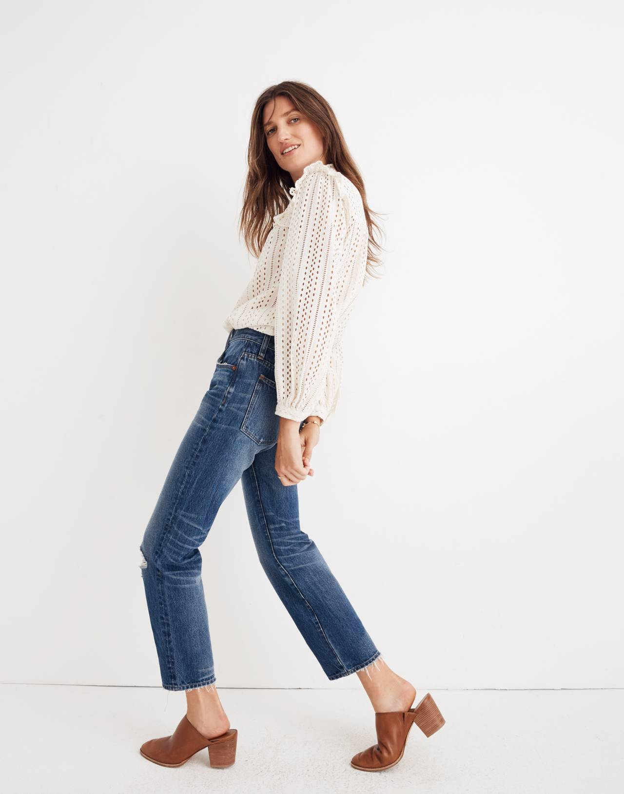 Classic Straight Jeans in Jade Wash: Knee-Rip Edition in jade wash image 2