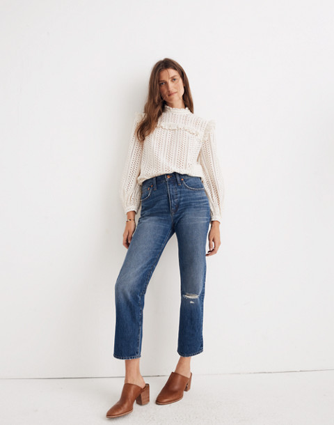 Classic Straight Jeans in Jade Wash: Knee-Rip Edition in jade wash image 3