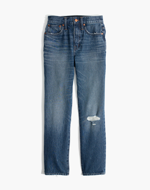 Petite Classic Straight Jeans in Jade Wash: Knee-Rip Edition in jade wash image 4
