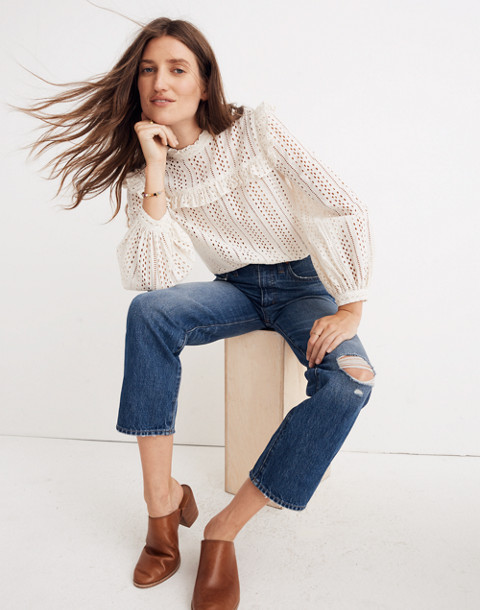 Classic Straight Jeans in Jade Wash: Knee-Rip Edition in jade wash image 1