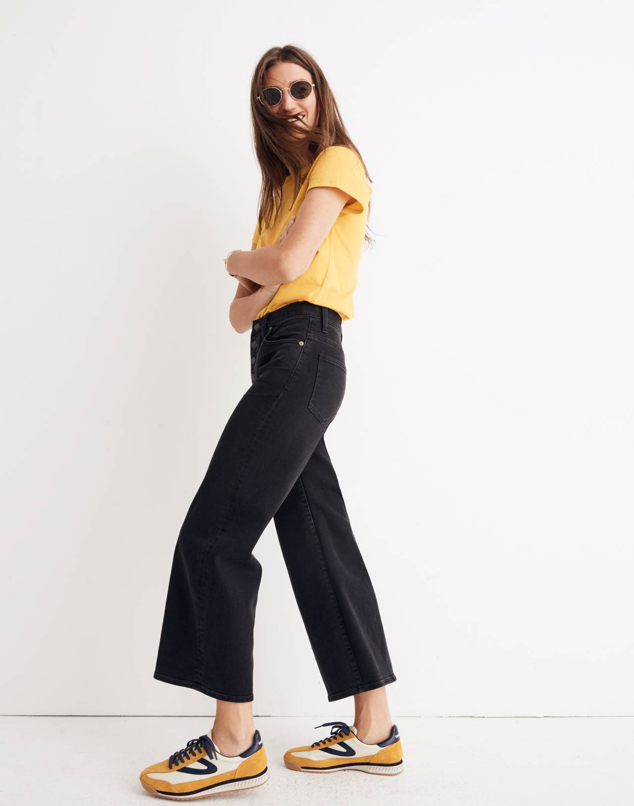 Tall Wide-Leg Crop Jeans in Lunar Wash: Button-Front Edition in lunar wash image 2