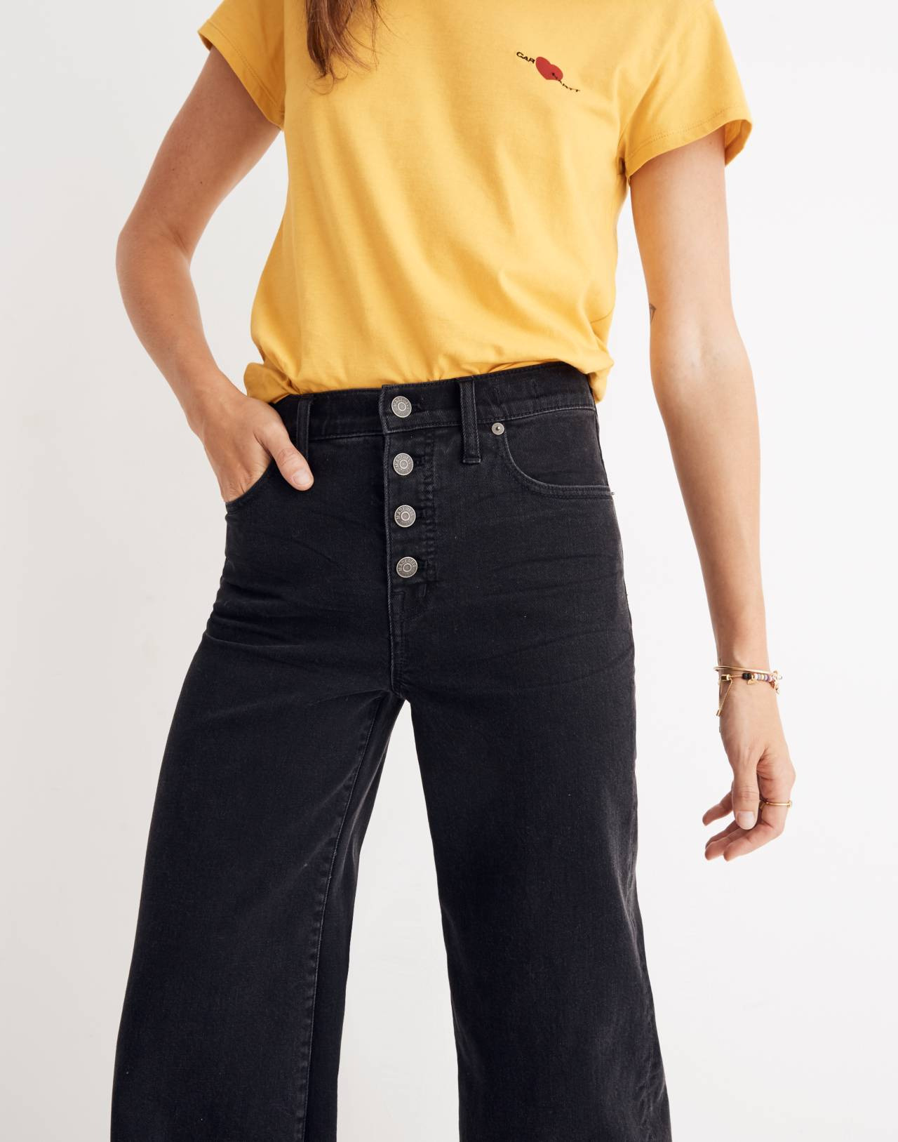 Tall Wide-Leg Crop Jeans in Lunar Wash: Button-Front Edition in lunar wash image 3