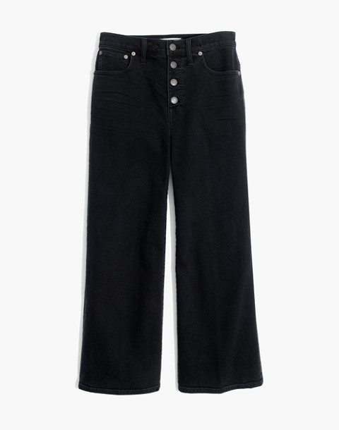 Wide-Leg Crop Jeans in Lunar Wash: Button-Front Edition in lunar wash image 4