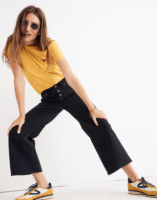 Wide-Leg Crop Jeans in Lunar Wash: Button-Front Edition in lunar wash image 1