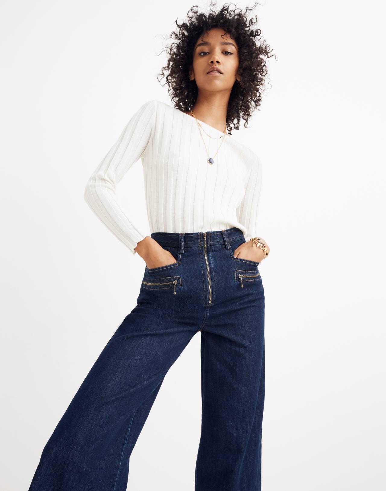 Madewell x Karen Walker® Blazar Zip Wide-Leg Jeans in walker wash image 2