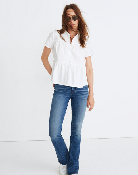 Seamed Button-Down Shirt in pure white image 2