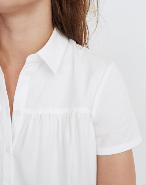Seamed Button-Down Shirt in pure white image 3