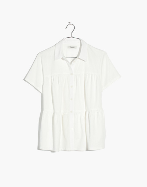 Seamed Button-Down Shirt in pure white image 4