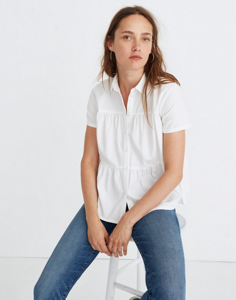 Seamed Button-Down Shirt in pure white image 1