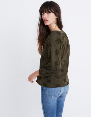 Embroidered Bubble-Sleeve Shirt in kale image 3