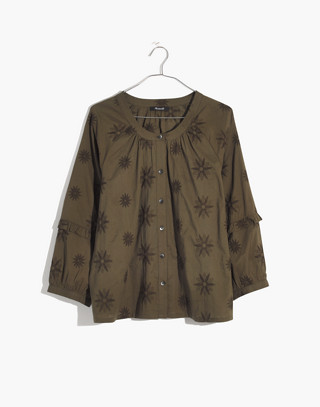 Embroidered Bubble-Sleeve Shirt in kale image 4