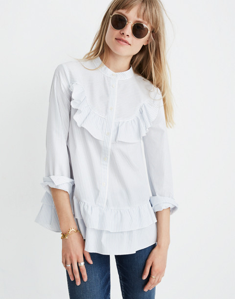 Madewell x Karen Walker® Striped Annie Shirt in kw stripe eyelet white image 1
