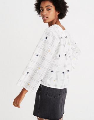 Embroidered Windowpane Square-Neck Button-Down Top in white wash image 3