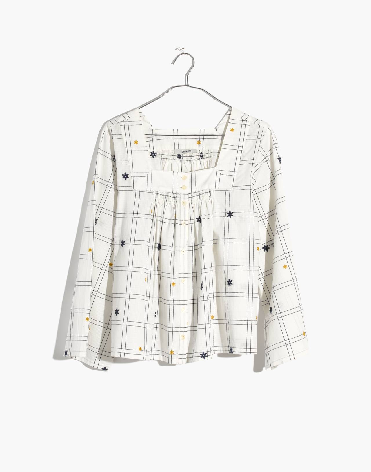 Embroidered Windowpane Square-Neck Button-Down Top in white wash image 4