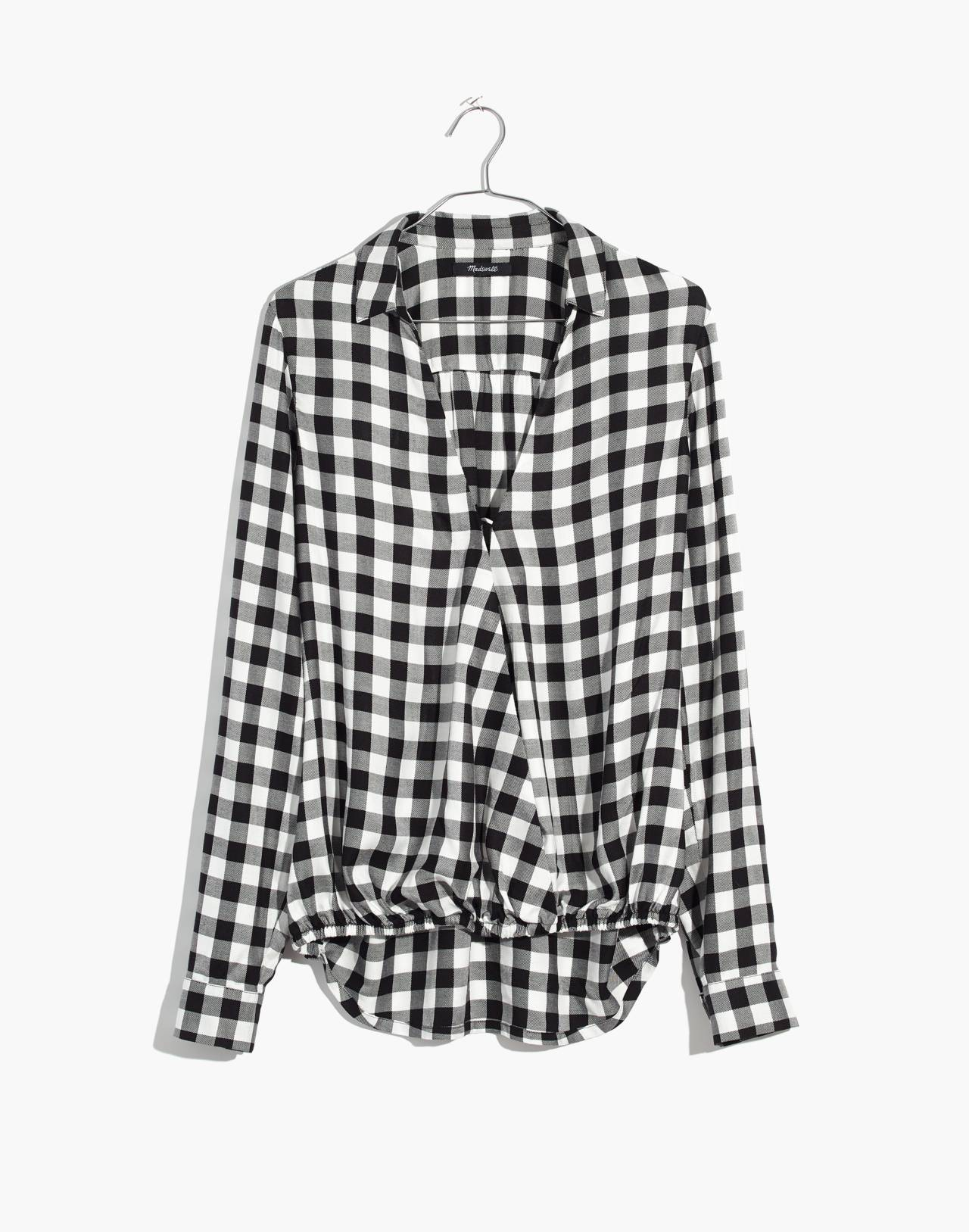 Wrap-Front Shirt in Buffalo Check in true black image 4