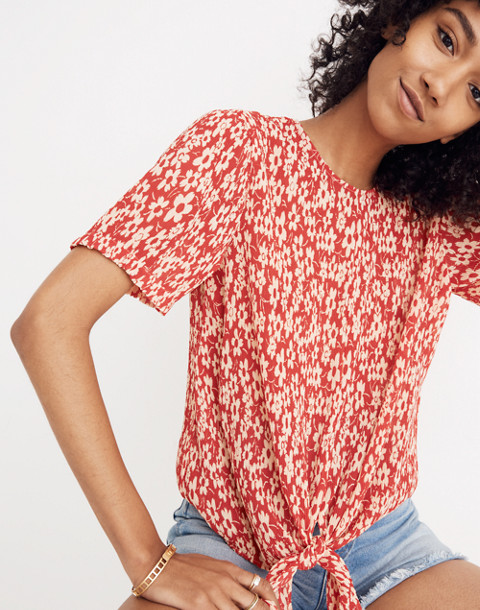 Crinkled Button-Back Tie Tee in Full Bloom in retro floral cranberry image 1