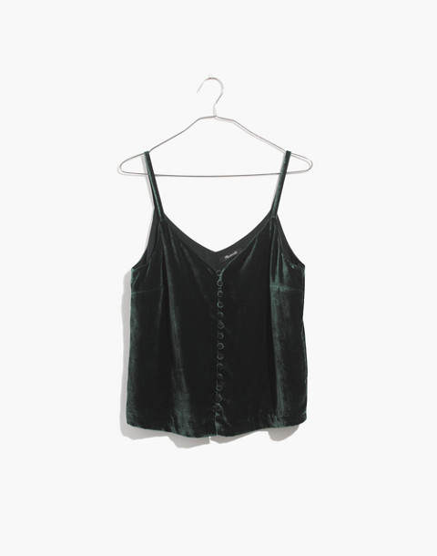 Velvet Button-Down Cami in smoky spruce image 1