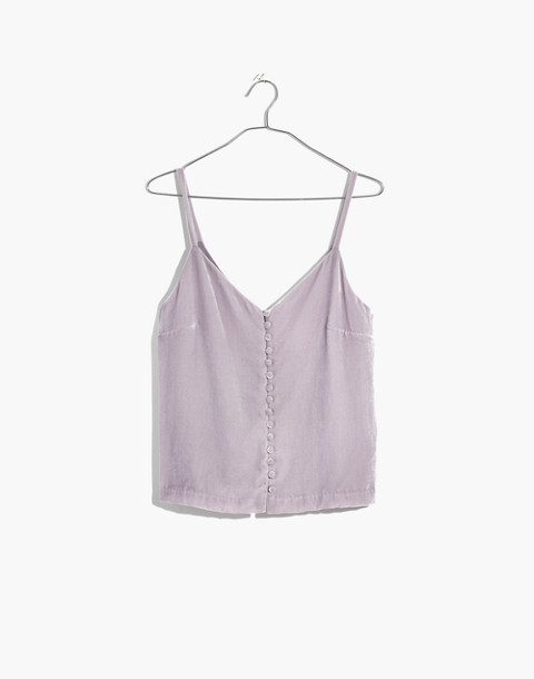 Velvet Button-Down Cami in thistle image 4