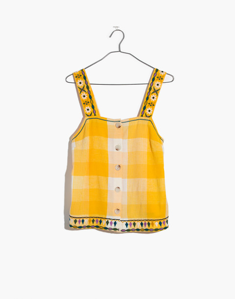 Embroidered Check Cami Top in mystic yellow image 4