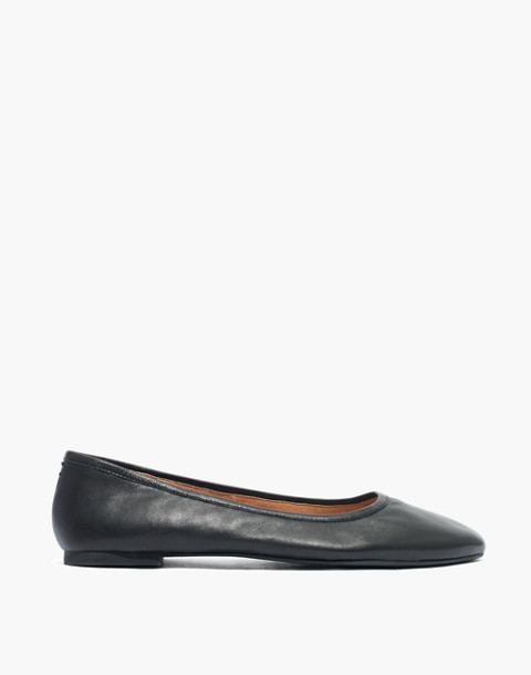 The Reid Ballet Flat in Leather in true black image 3