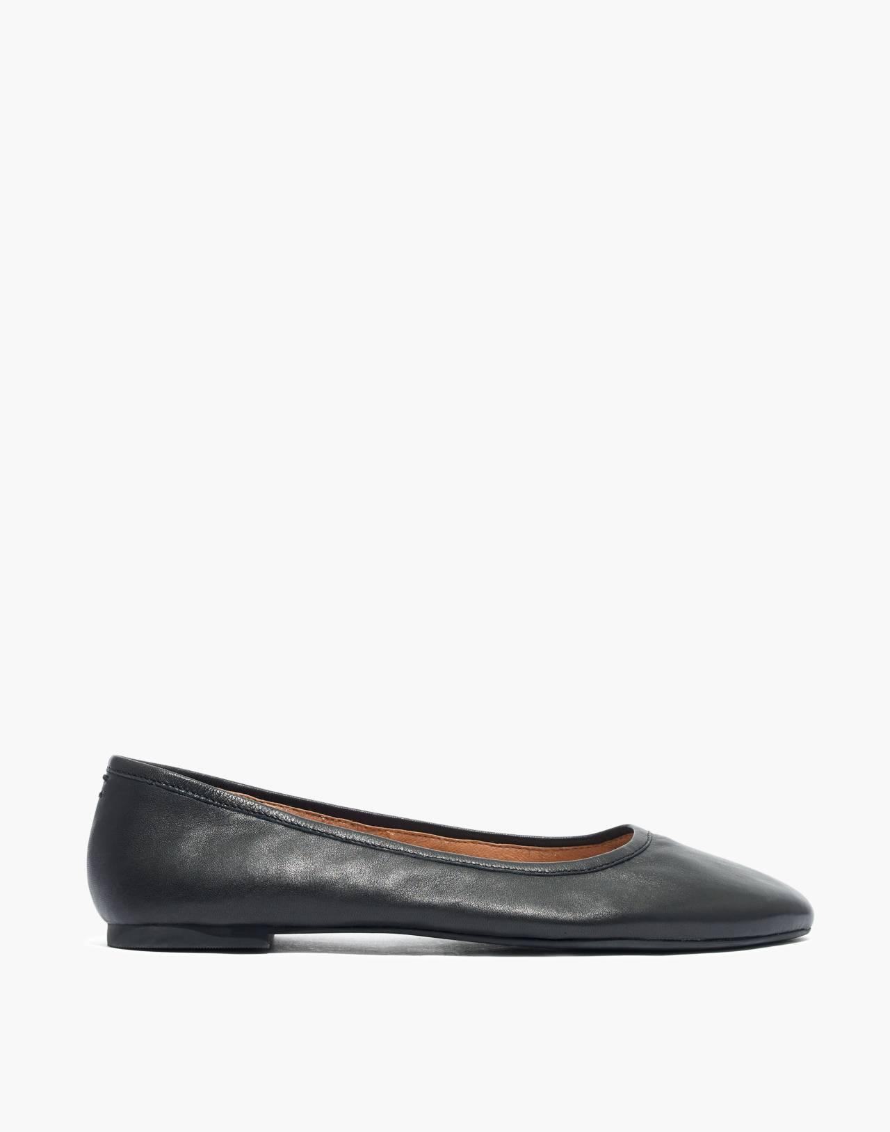 The Reid Ballet Flat in Leather in true black image 3