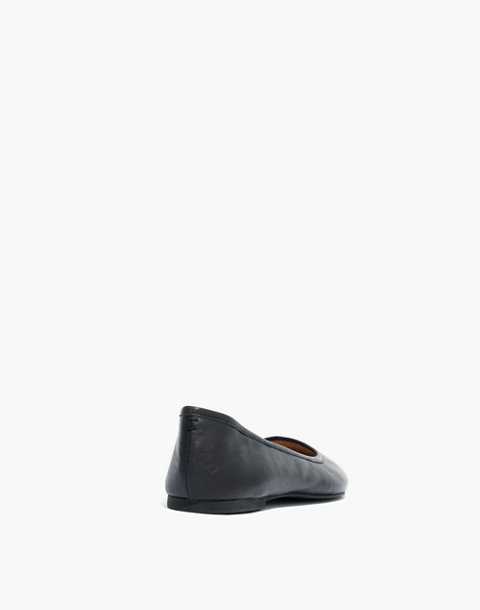 The Reid Ballet Flat in Leather in true black image 4