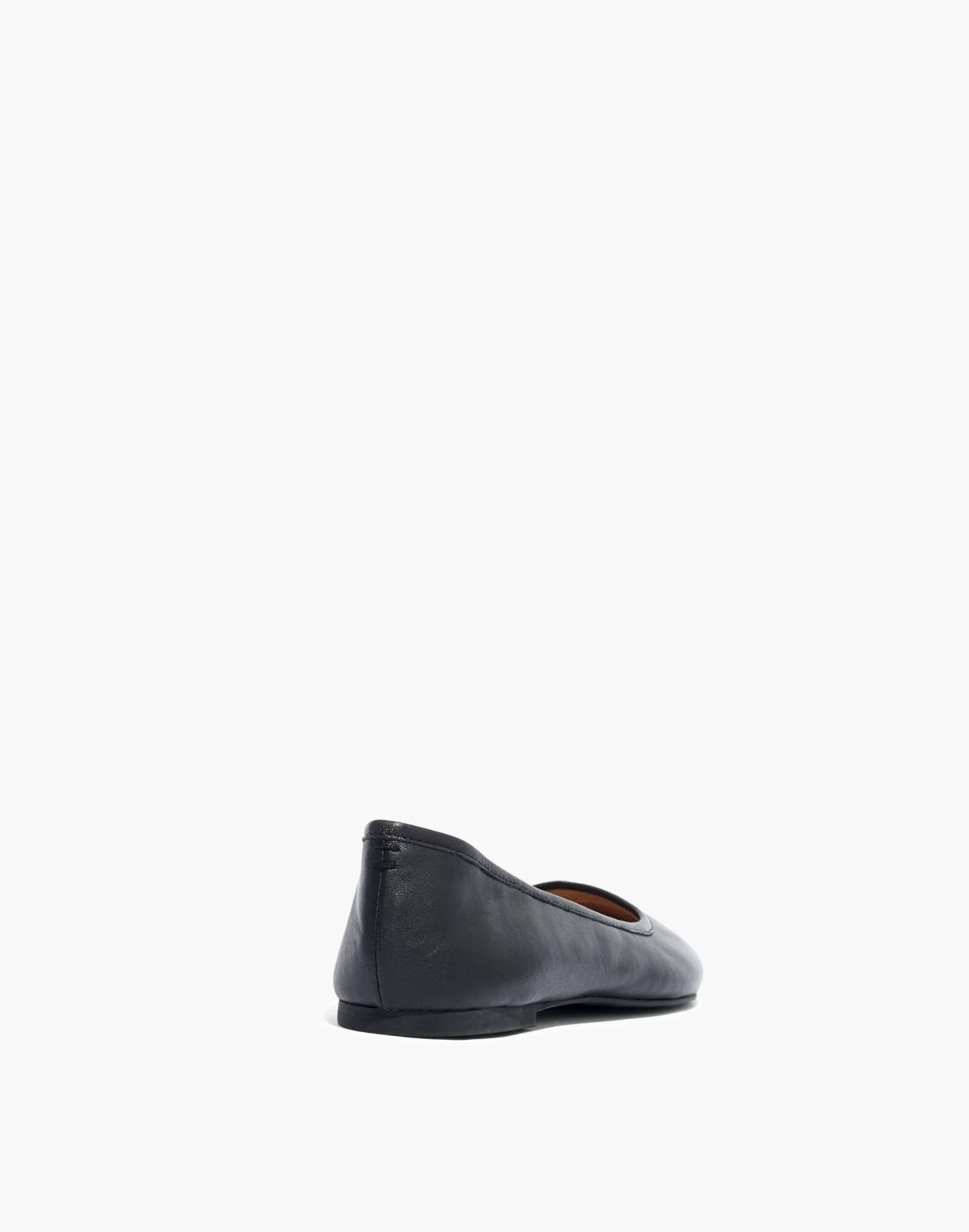 The Reid Ballet Flat in Leather in true black image 4