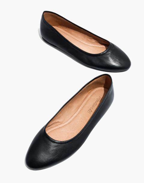 The Reid Ballet Flat in Leather in true black image 1
